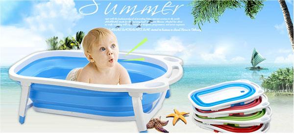 Chậu tắm silicon gấp gọn tiện dụng cho bé.