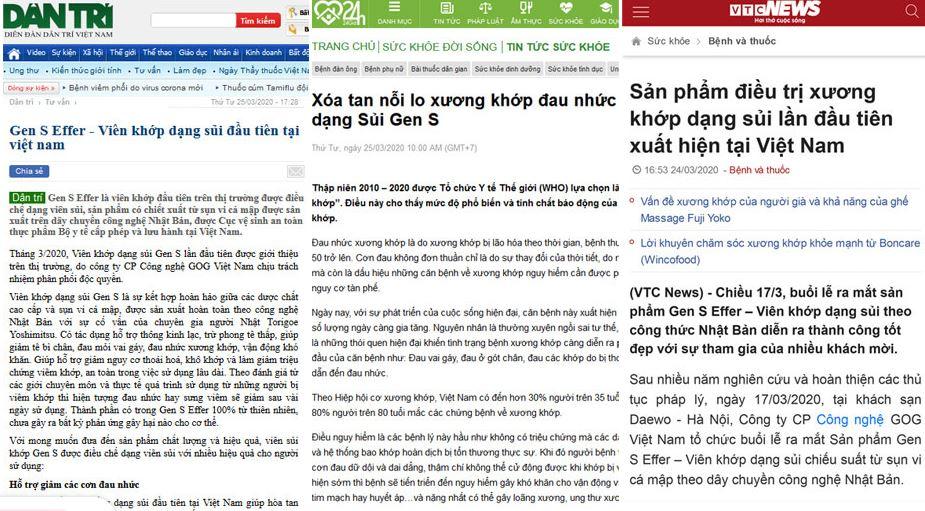 báo chí đăng tải thông tin về Viên sủi xương khớp Gen S Effer